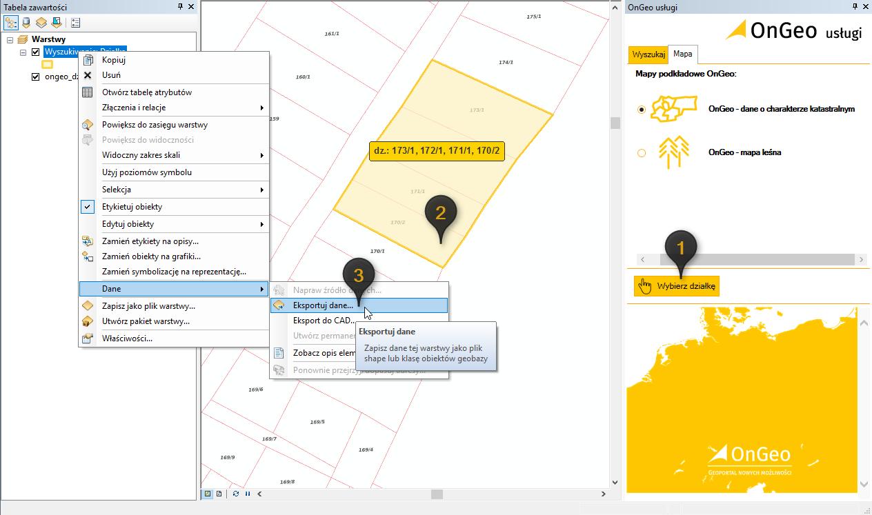 selektor działek dla ArcGIS, zrzut z ekranu