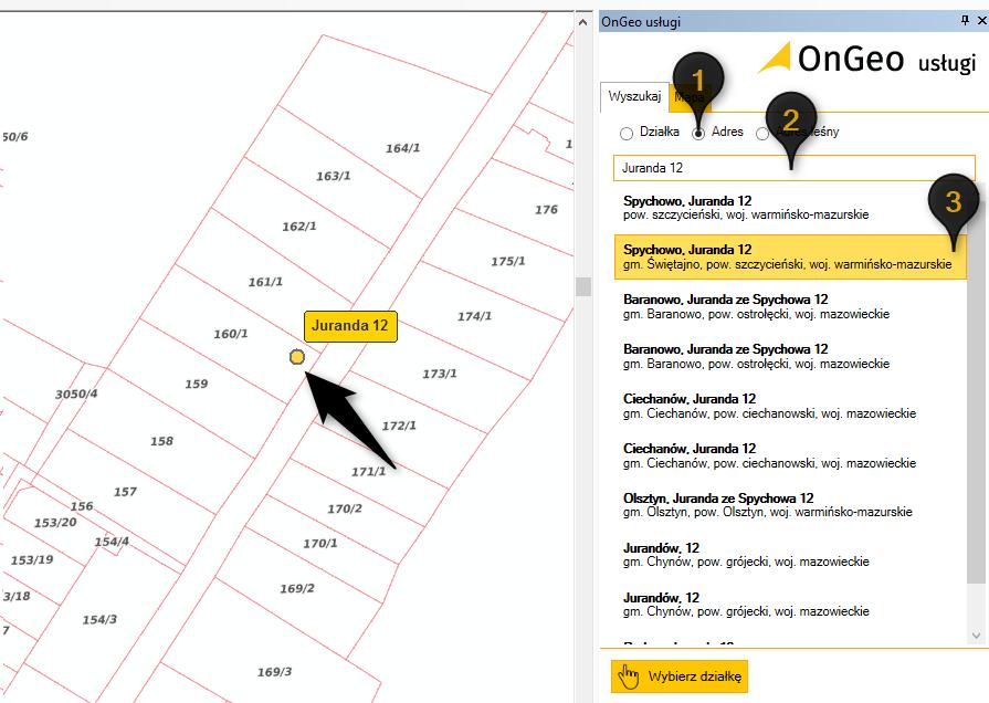 wyszukiwarka działek dla ArcGIS, zrzut z ekranu